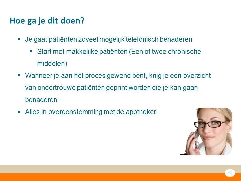 Hoe ga je dit doen Je gaat patiënten zoveel mogelijk telefonisch benaderen. Start met makkelijke patiënten (Een of twee chronische middelen)