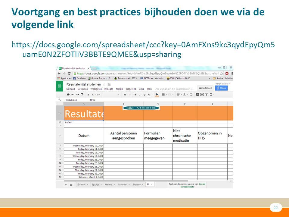 Voortgang en best practices bijhouden doen we via de volgende link
