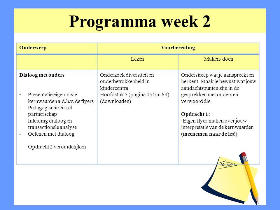 Programma week 2 Onderwerp Voorbereiding Lezen Maken/ doen