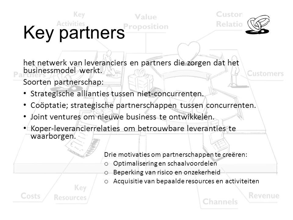 Key partners het netwerk van leveranciers en partners die zorgen dat het businessmodel werkt. Soorten partnerschap: