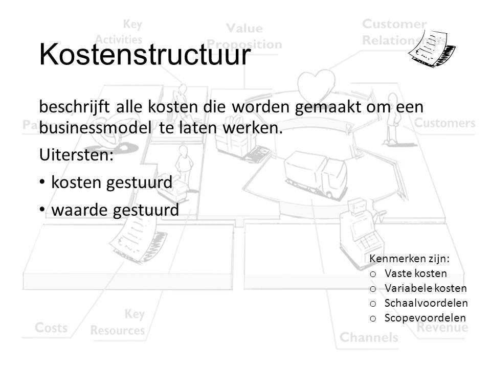 Kostenstructuur beschrijft alle kosten die worden gemaakt om een businessmodel te laten werken. Uitersten: