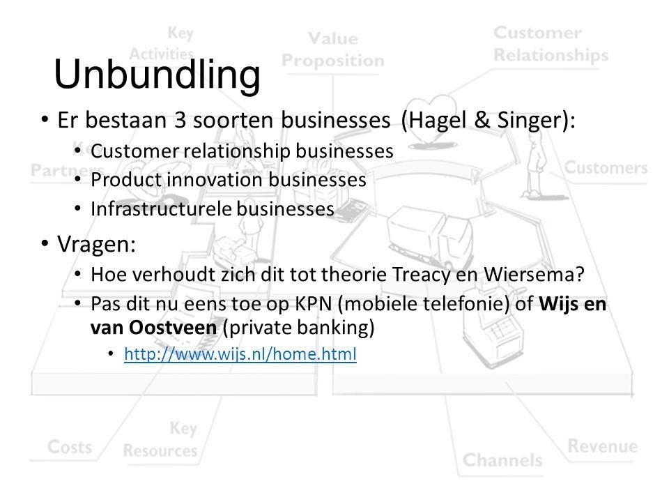 Unbundling Er bestaan 3 soorten businesses (Hagel & Singer): Vragen: