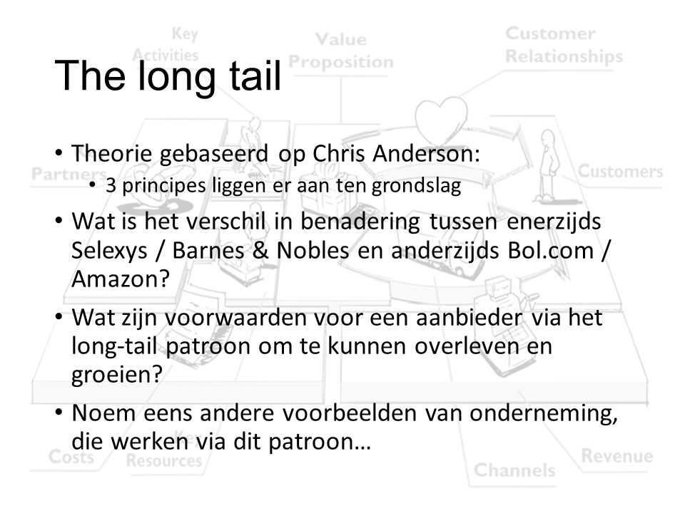 The long tail Theorie gebaseerd op Chris Anderson:
