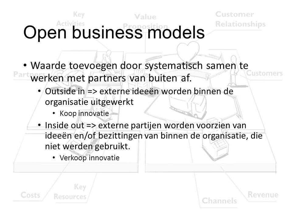 Open business models Waarde toevoegen door systematisch samen te werken met partners van buiten af.