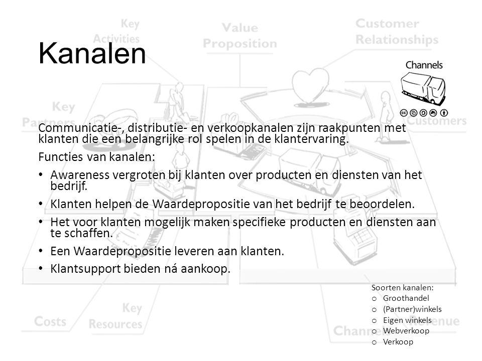 Kanalen Communicatie-, distributie- en verkoopkanalen zijn raakpunten met klanten die een belangrijke rol spelen in de klantervaring.