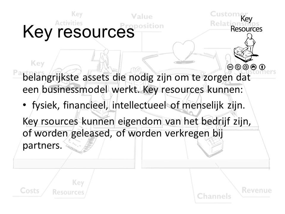 Key resources belangrijkste assets die nodig zijn om te zorgen dat een businessmodel werkt. Key resources kunnen: