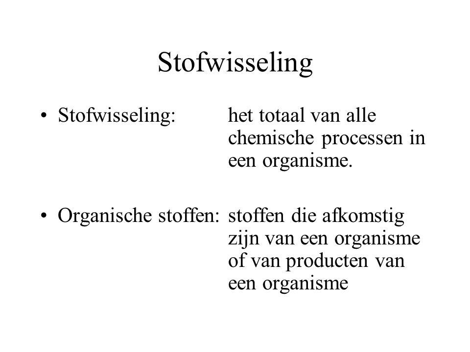 Stofwisseling Stofwisseling: het totaal van alle chemische processen in een organisme.