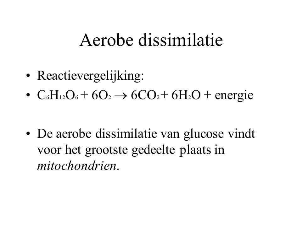 Aerobe dissimilatie Reactievergelijking: