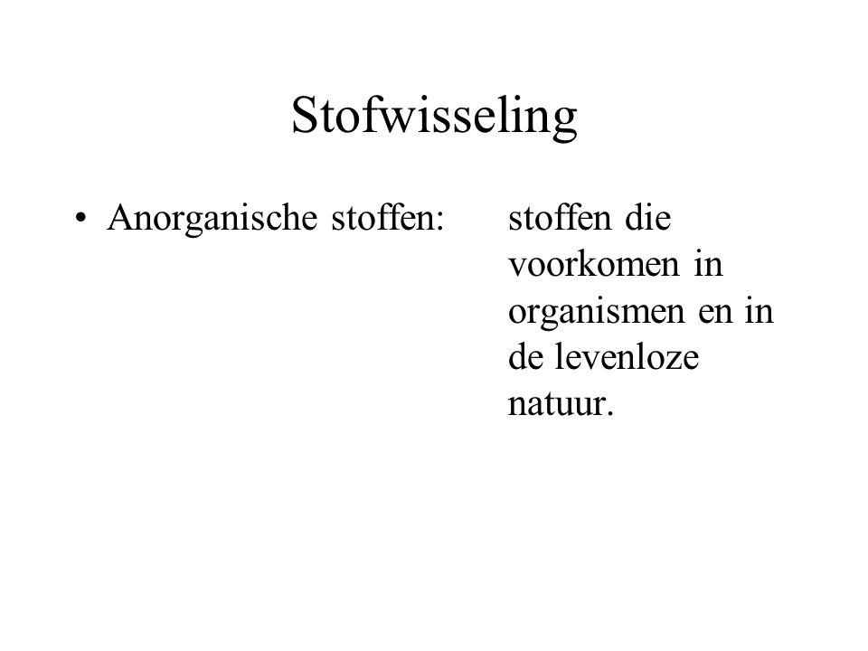 Stofwisseling Anorganische stoffen: stoffen die voorkomen in organismen en in de levenloze natuur.