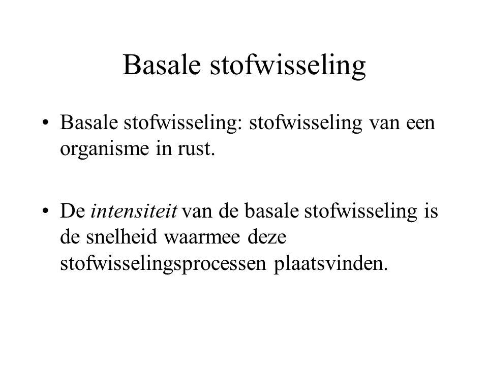 Basale stofwisseling Basale stofwisseling: stofwisseling van een organisme in rust.