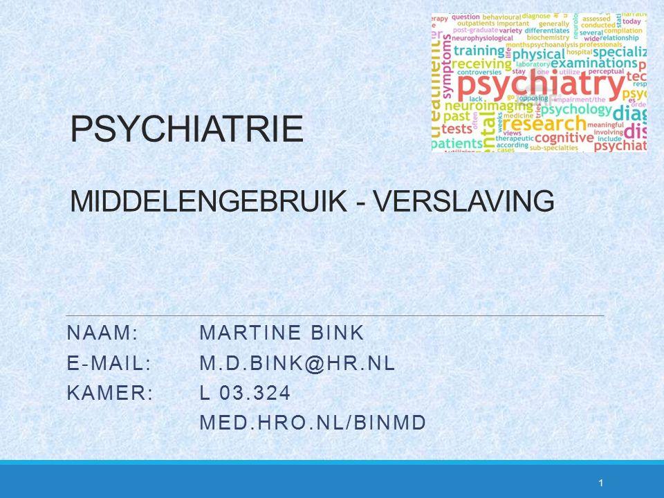 PSYCHIATRIE MIDDELENGEBRUIK - VERSLAVING