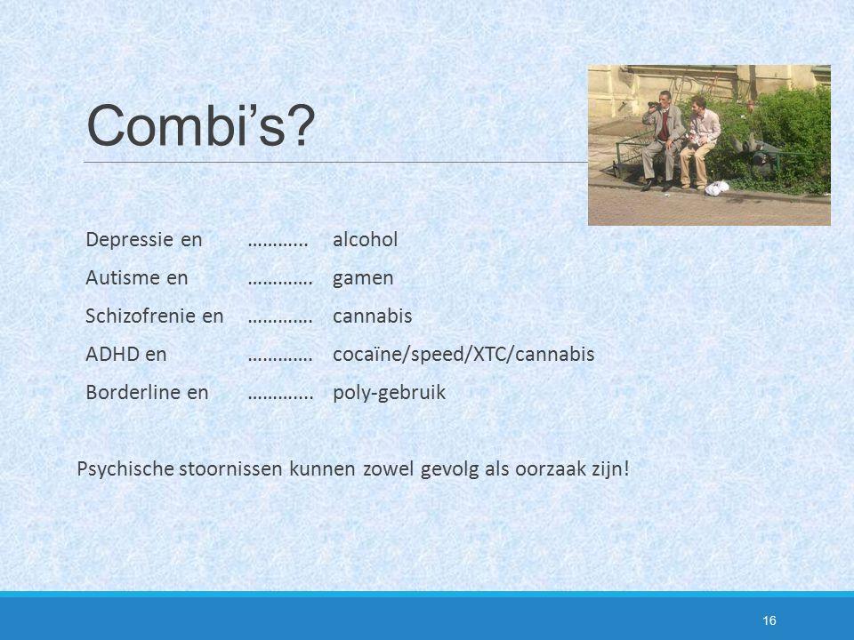 Combi's Depressie en ………... alcohol Autisme en …………. gamen