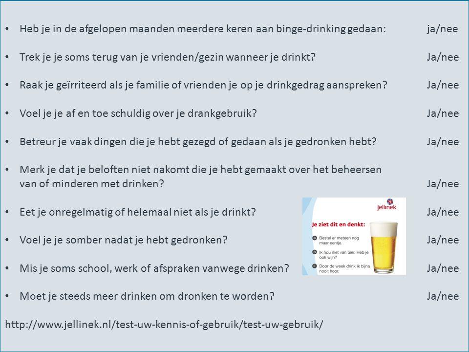 Heb je in de afgelopen maanden meerdere keren aan binge-drinking gedaan: ja/nee