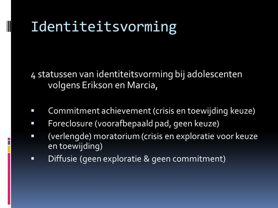Identiteitsvorming 4 statussen van identiteitsvorming bij adolescenten volgens Erikson en Marcia,