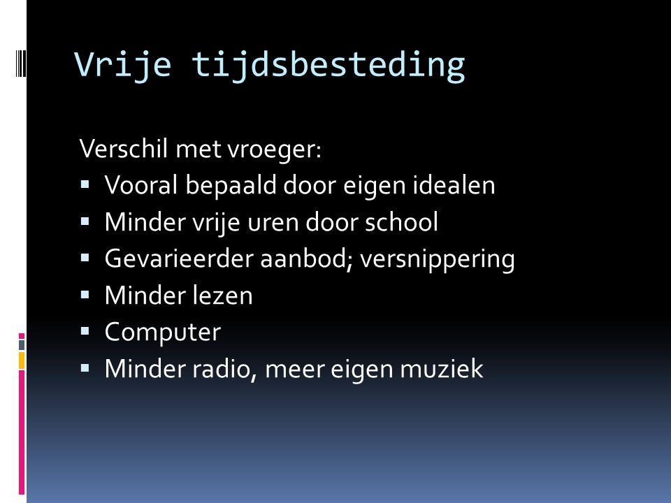 Vrije tijdsbesteding Verschil met vroeger:
