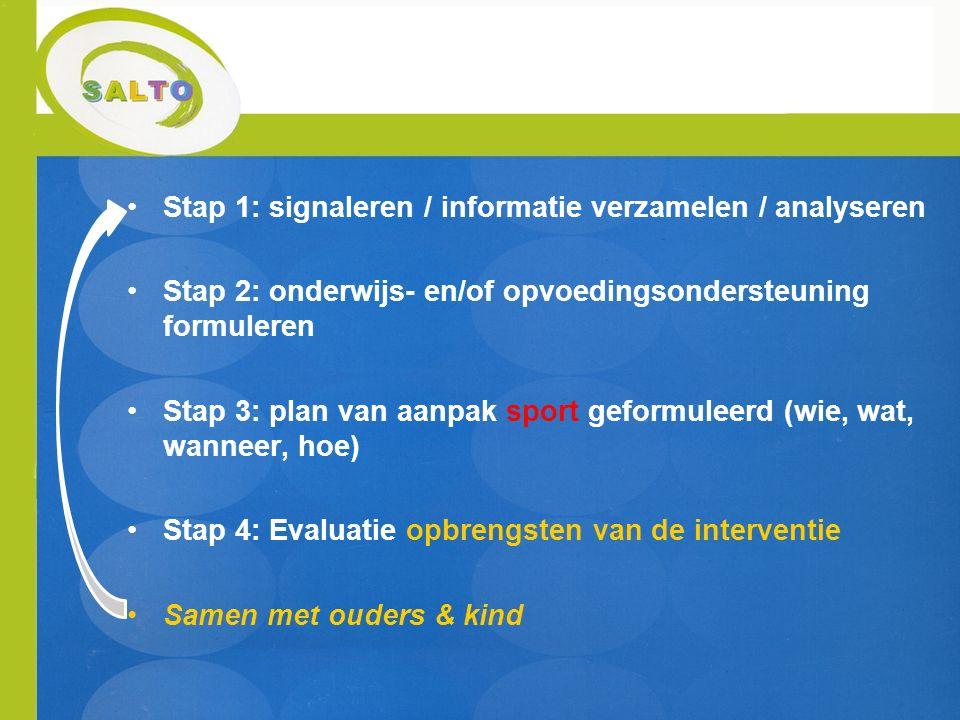 Stap 1: signaleren / informatie verzamelen / analyseren