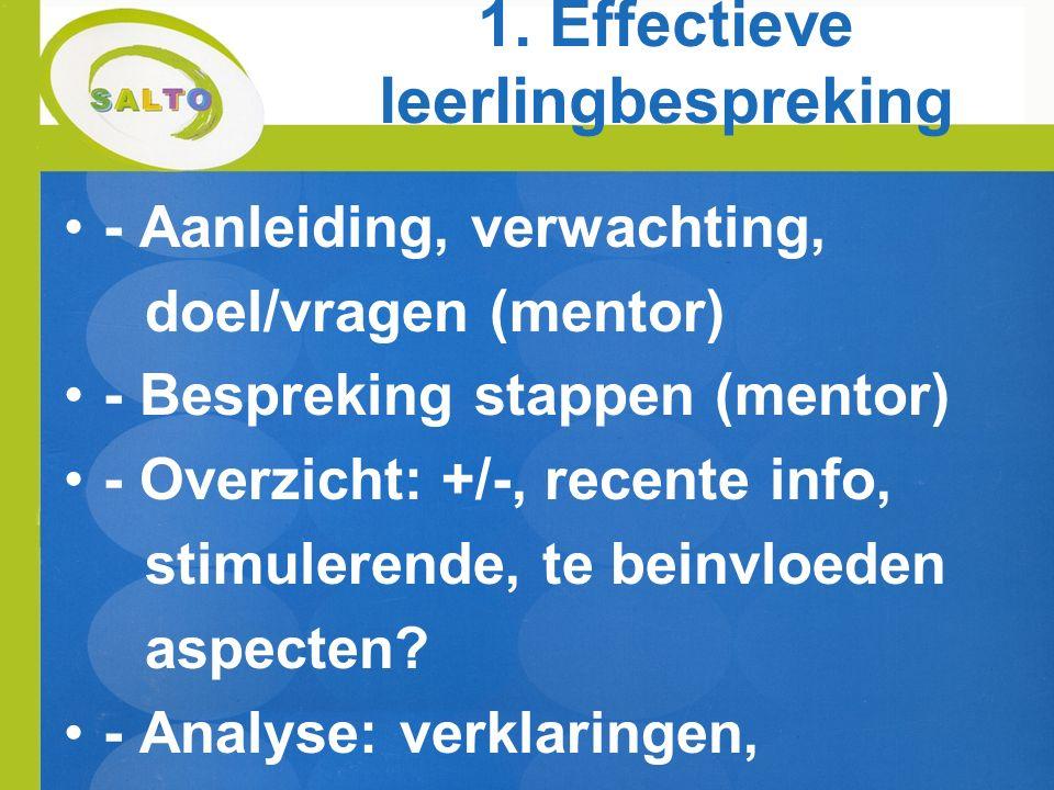 1. Effectieve leerlingbespreking