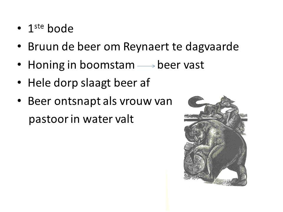 1ste bode Bruun de beer om Reynaert te dagvaarde. Honing in boomstam beer vast. Hele dorp slaagt beer af.