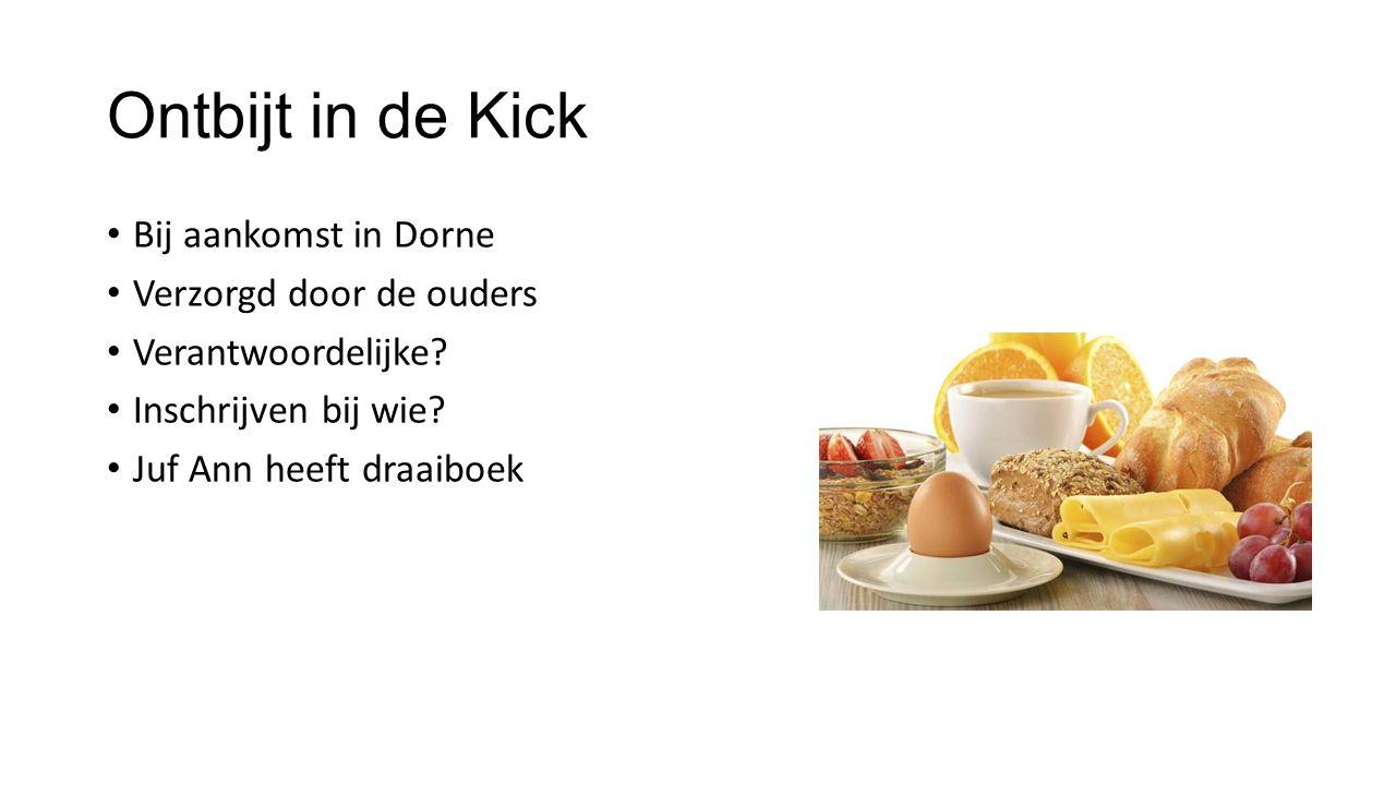 Ontbijt in de Kick Bij aankomst in Dorne Verzorgd door de ouders