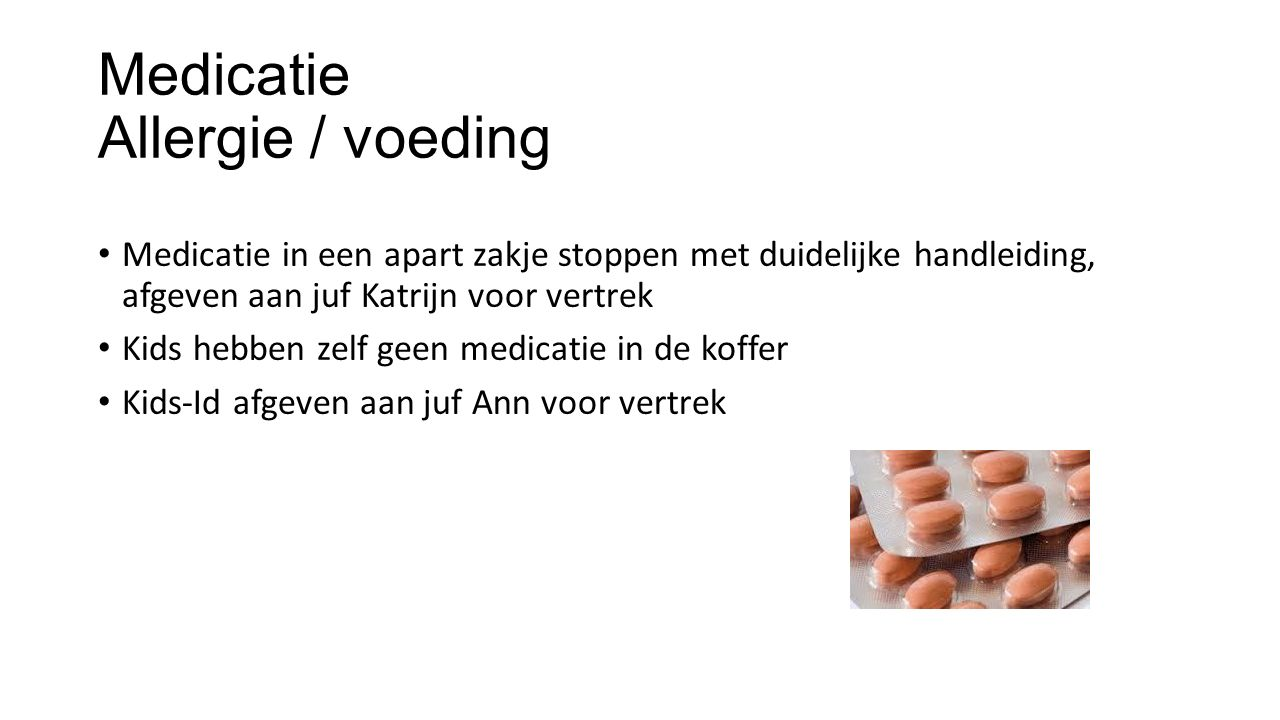 Medicatie Allergie / voeding