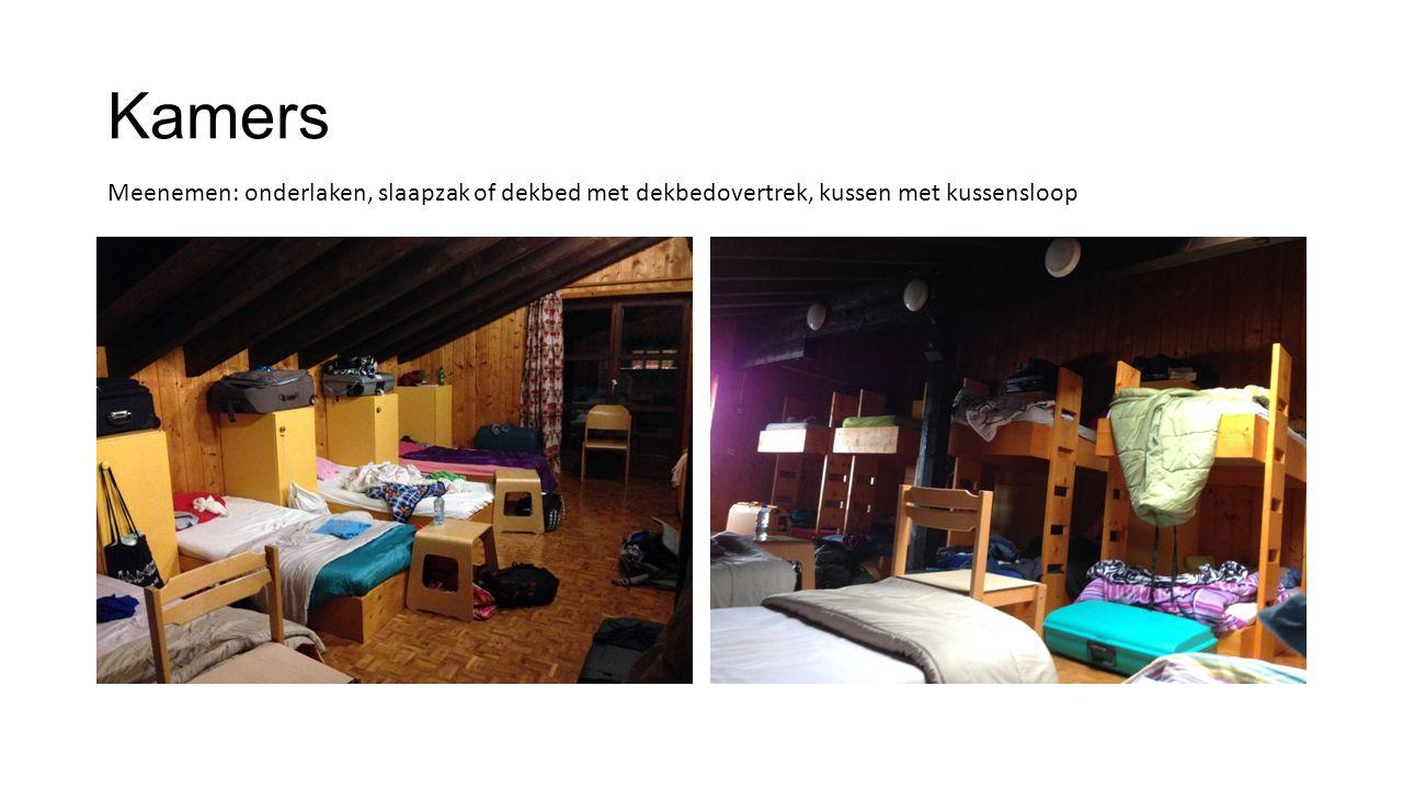 Kamers Meenemen: onderlaken, slaapzak of dekbed met dekbedovertrek, kussen met kussensloop