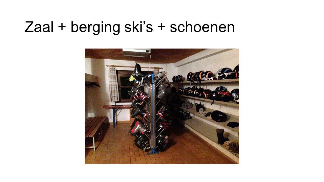 Zaal + berging ski's + schoenen
