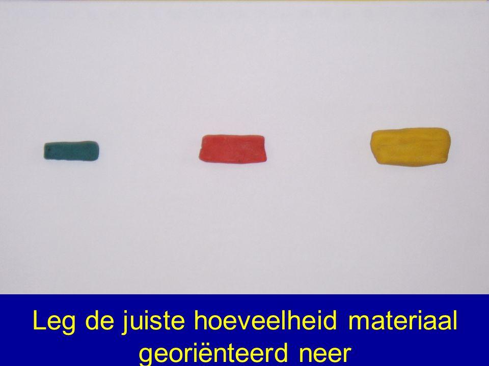 Leg de juiste hoeveelheid materiaal georiënteerd neer