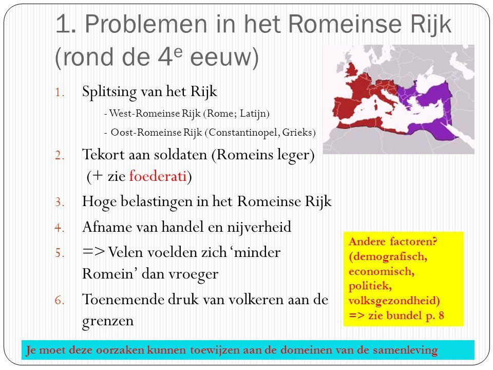 1. Problemen in het Romeinse Rijk (rond de 4e eeuw)