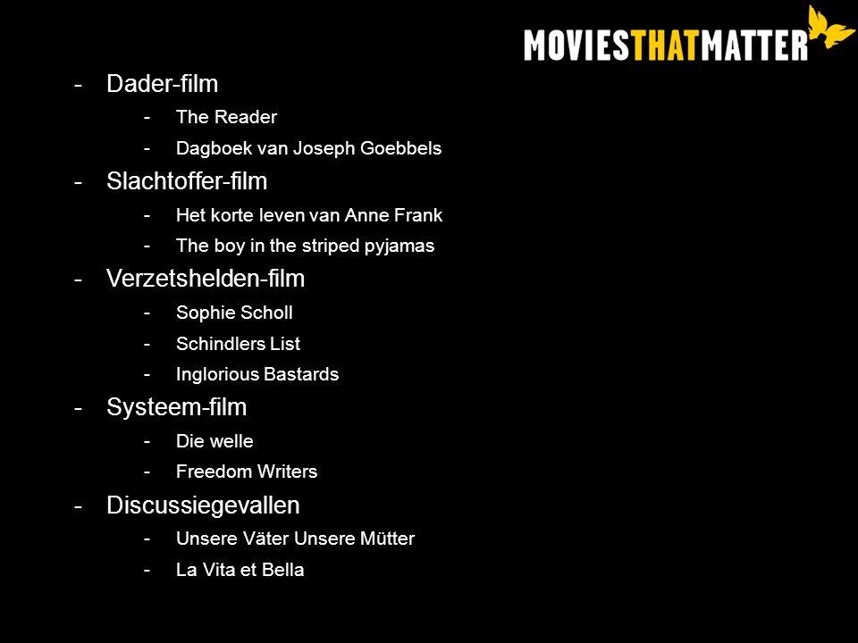 Dader-film Slachtoffer-film Verzetshelden-film Systeem-film