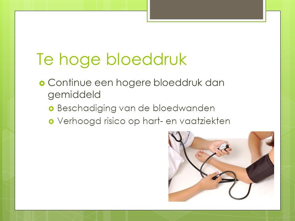 Te hoge bloeddruk Continue een hogere bloeddruk dan gemiddeld