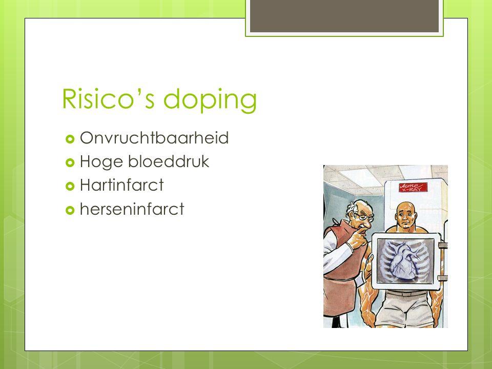 Risico's doping Onvruchtbaarheid Hoge bloeddruk Hartinfarct
