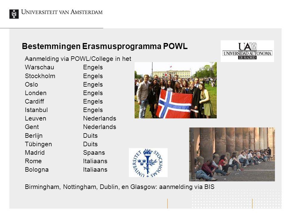 Bestemmingen Erasmusprogramma POWL