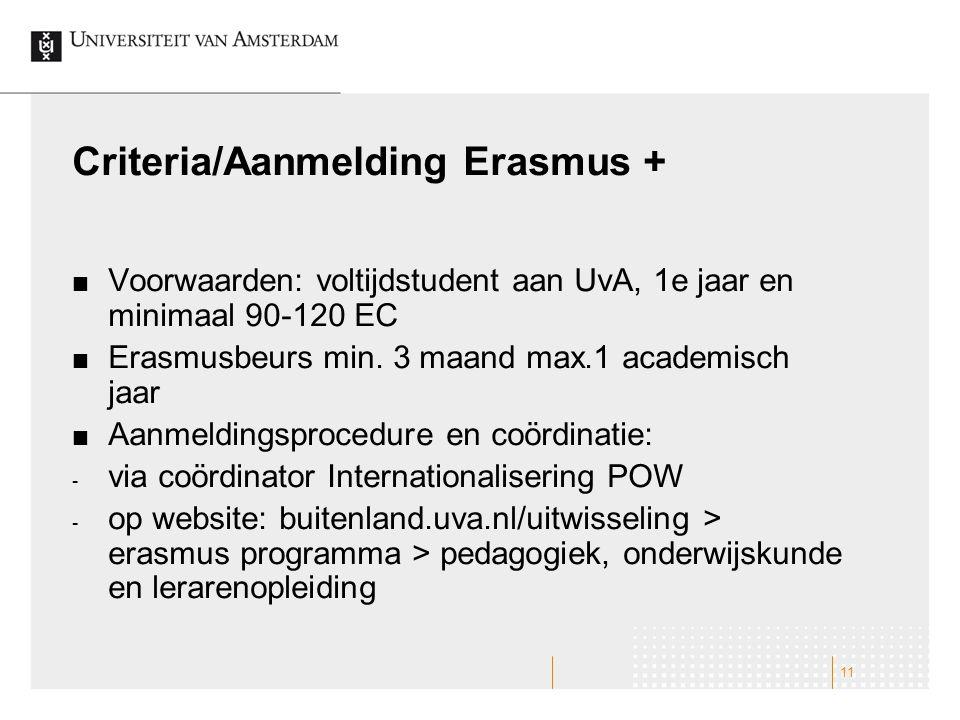 Criteria/Aanmelding Erasmus +
