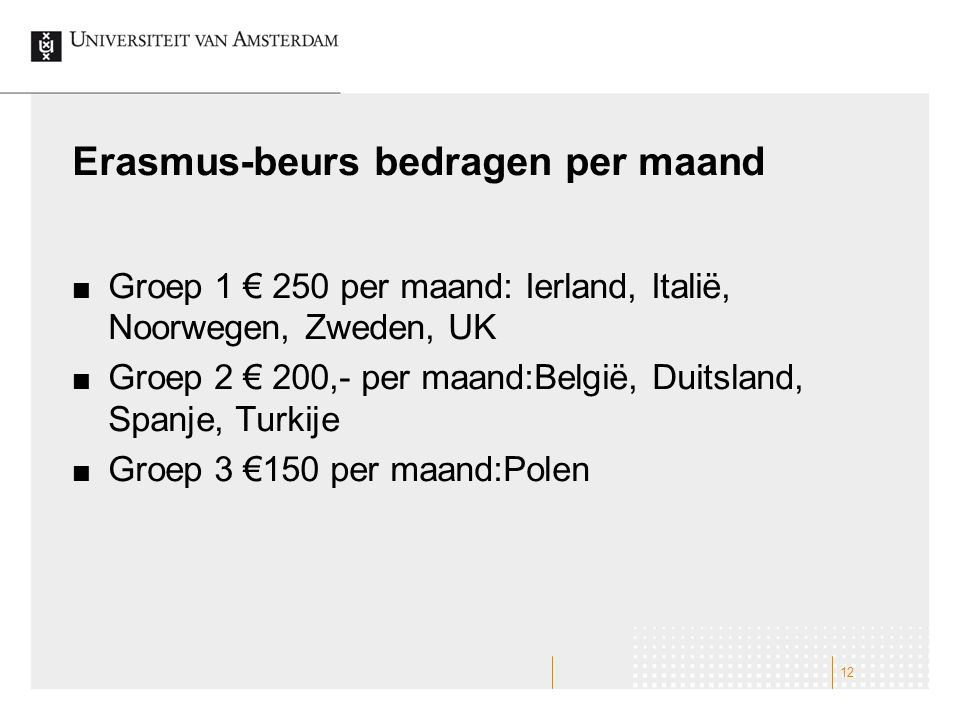 Erasmus-beurs bedragen per maand