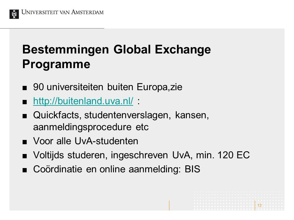 Bestemmingen Global Exchange Programme