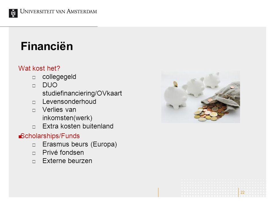 Financiën Wat kost het collegegeld DUO studiefinanciering/OVkaart