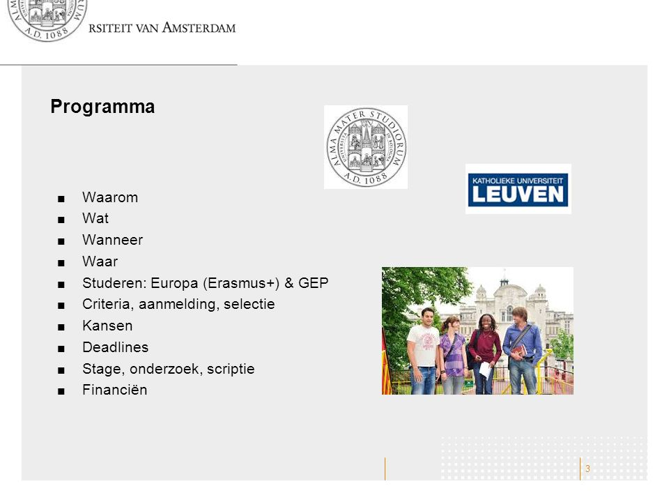 Programma Waarom Wat Wanneer Waar Studeren: Europa (Erasmus+) & GEP