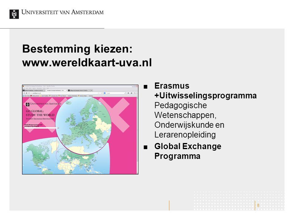 Bestemming kiezen: www.wereldkaart-uva.nl