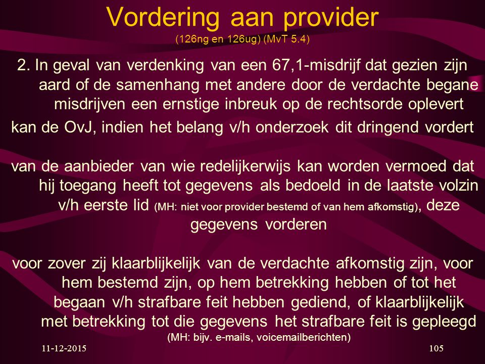 Vordering aan provider (126ng en 126ug) (MvT 5.4)