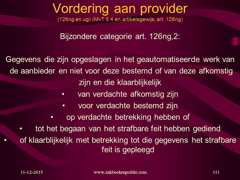 Vordering aan provider (126ng en ug) (MvT 5. 4 en artikelsgewijs, art