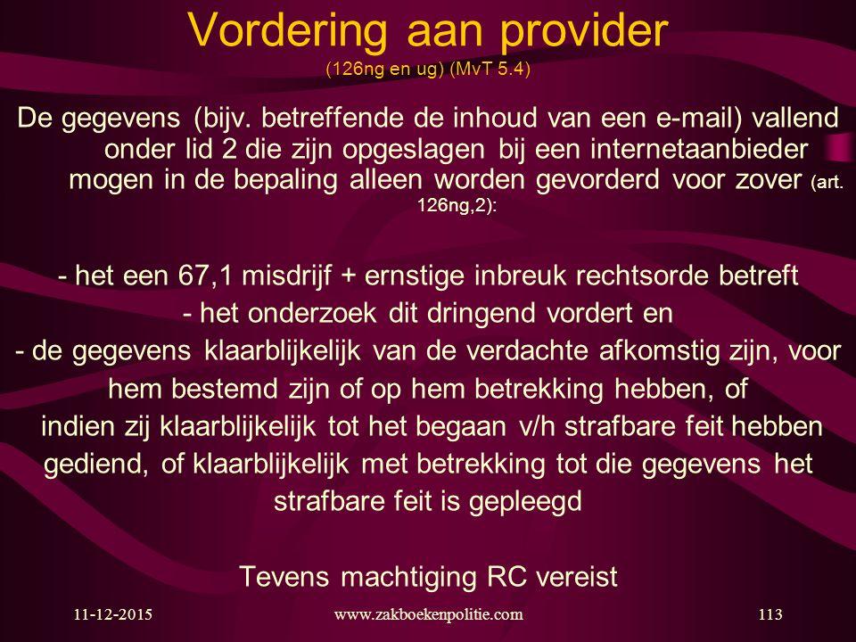 Vordering aan provider (126ng en ug) (MvT 5.4)