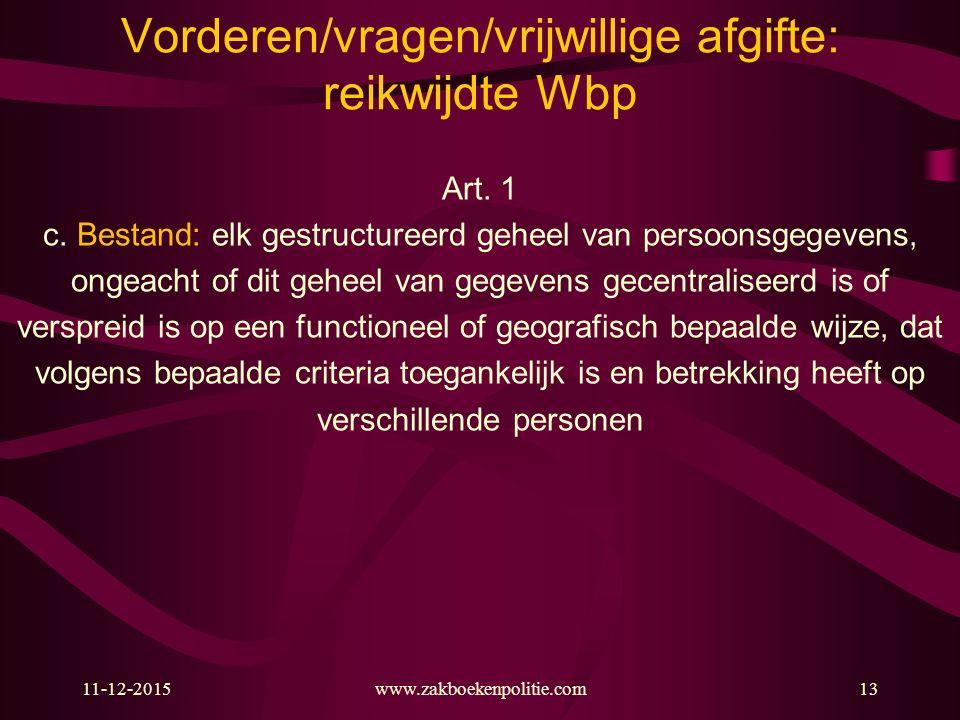 Vorderen/vragen/vrijwillige afgifte: reikwijdte Wbp