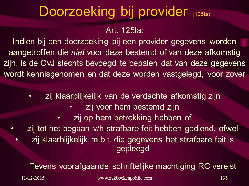 Doorzoeking bij provider (125la)
