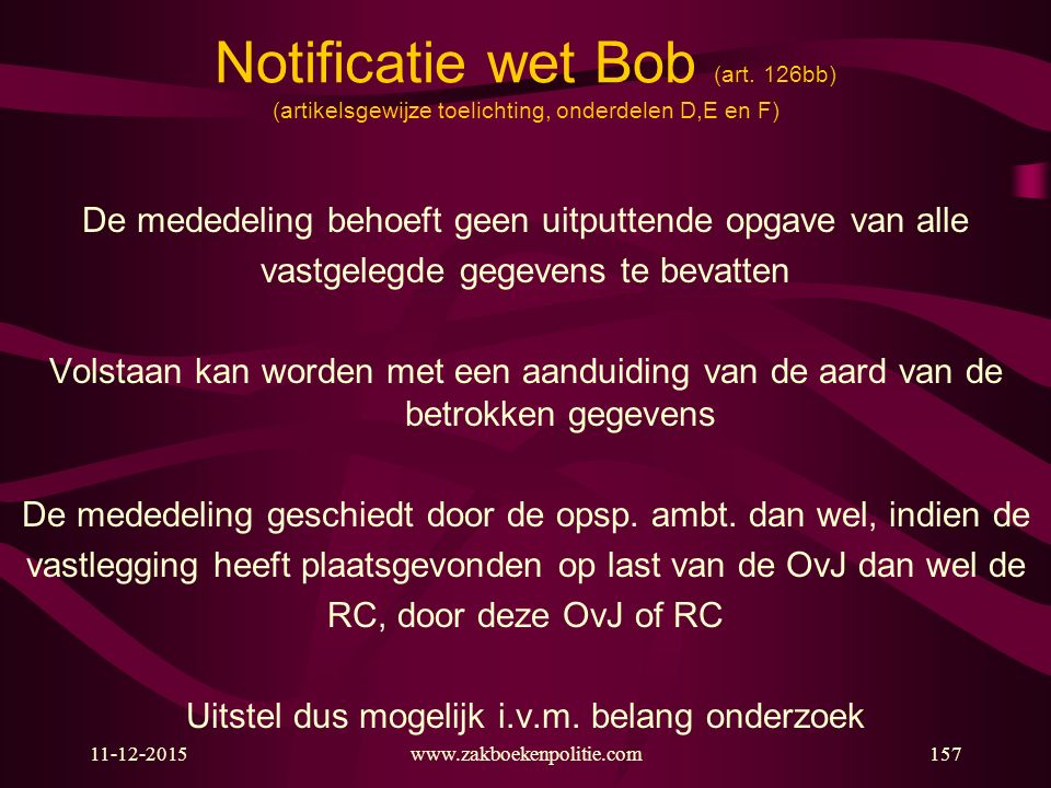 Notificatie wet Bob (art