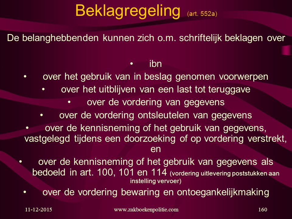 Beklagregeling (art. 552a)