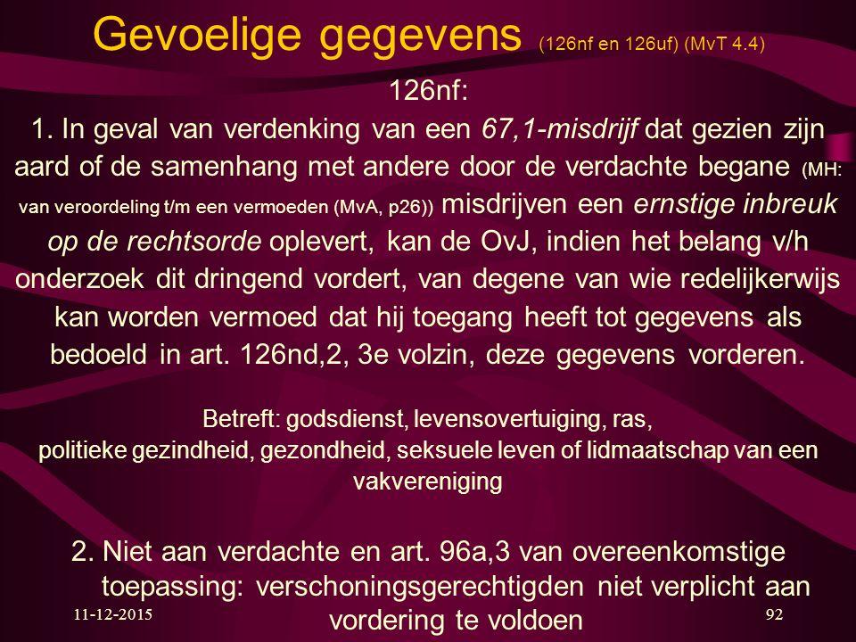 Gevoelige gegevens (126nf en 126uf) (MvT 4.4)