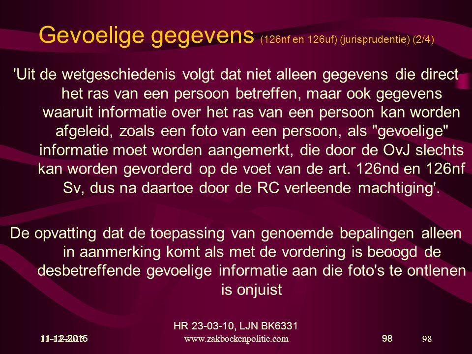 Gevoelige gegevens (126nf en 126uf) (jurisprudentie) (2/4)