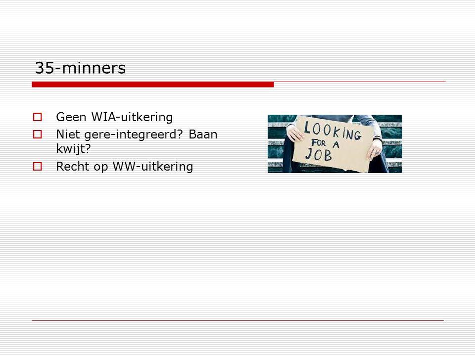 35-minners Geen WIA-uitkering Niet gere-integreerd Baan kwijt