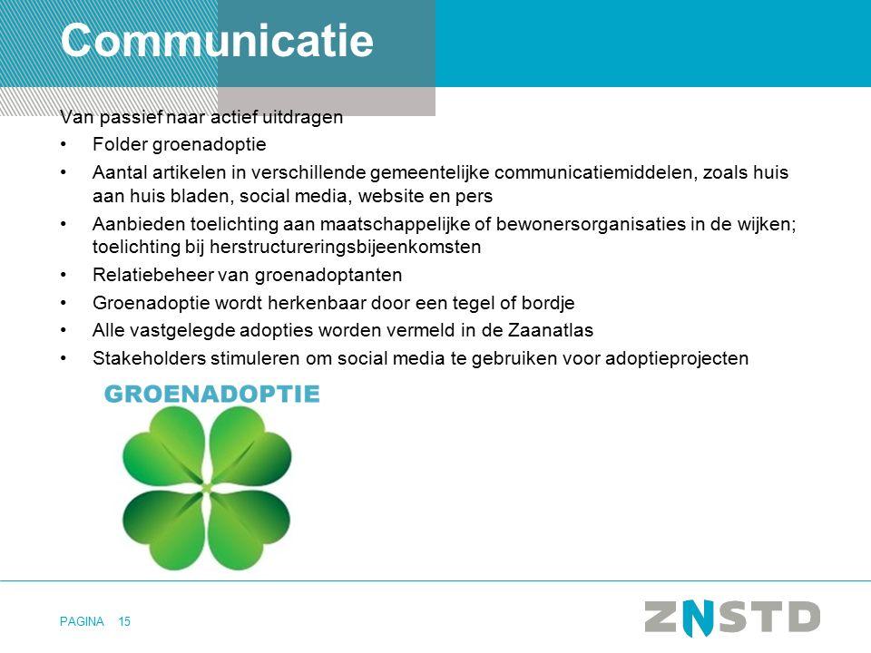 Communicatie Van passief naar actief uitdragen Folder groenadoptie