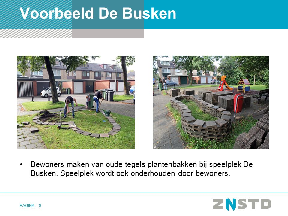 Voorbeeld De Busken Bewoners maken van oude tegels plantenbakken bij speelplek De Busken.